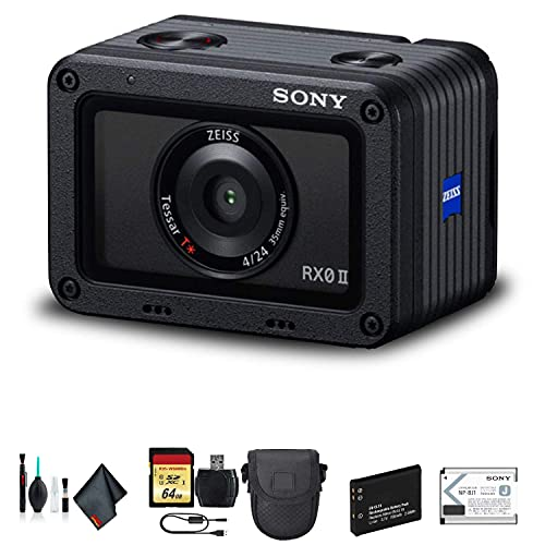 Sony Cyber-Shot DSC-RX0 II Camera DSC-RX0M2 with Soft Bag, Additional Battery, 64GB Memory Card, Card Reader, Plus Essential Accessories