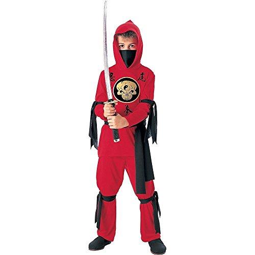 Tante Tina Ninja Verkleidung Kinder - 3-teiliges Ninja Kostüm für Jungen mit langärmligen Kapuzenoberteil, Hose und Gürtel - Rot / Schwarz - Größe S ( 116 ) - geeignet für Kinder von 3 bis 5 Jahren