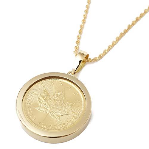 純金 メイプルリーフ 1/4コイン 金貨ペンダント 【純金なんと7.7gも】 キズ防止 両面ガラス入