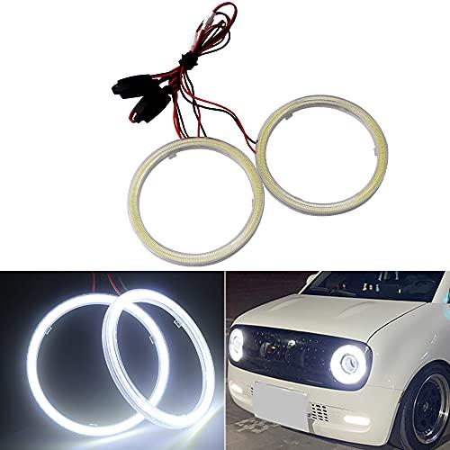 Qasim 1-Pair White 110MM 81SMD COB LED Halo Ring Angel Eyes Led Headlight with lampshade Cover 12V 24V