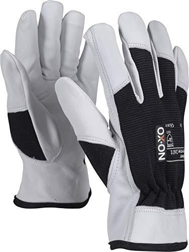 HandschuhMan. OX-ON Stone Arbeitshandschuhe weiche Lederhandschuhe mit Spandexrücken Gr. 9-12 Plus 1 Paar Gehörschutzstöpsel von 3M (11/XXL, Schwarz)