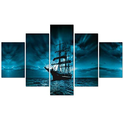WJDJT Bilder 200X100Cm 5-Teilig Leinwandbilder Hd Print Piratenschiff Landschaft Dekorative Gemälde Auf Leinwand Wandkunst Für Hauptdekorationen Wand Dekor Bild (Kein Rahmen)