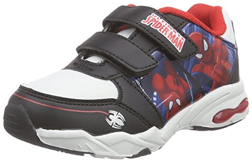 Spiderman Boys Kids Athletic Sport, Baskets Basses Garçon Fille, Multicolore 102 Noir et Blanc, 25 EU