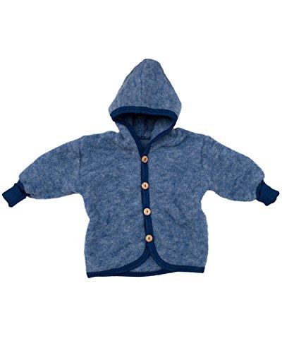 Cosilana Baby Jäckchen mit Kapuze aus weichem Wollfleece, 60% Schurwolle kbT, 40% Baumwolle KBA (74/80, Marine-Melange)