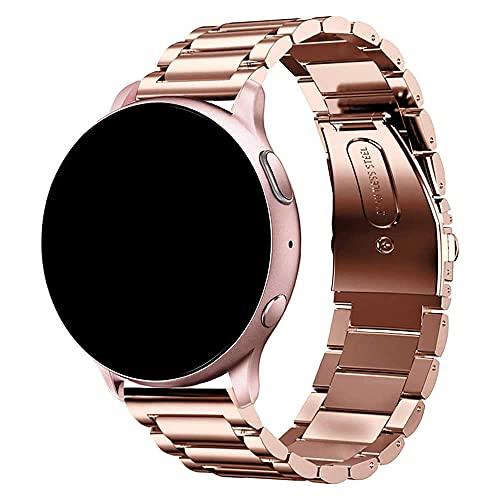 Pulseira 20mm Metal 3 Elos compatível com Samsung Galaxy Watch Active 1 e 2 - Galaxy Watch 3 41mm - Galaxy Watch 42mm - Amazfit GTR 42mm - Amazfit GTS - Marca LTIMPORTS (Rose Gold)