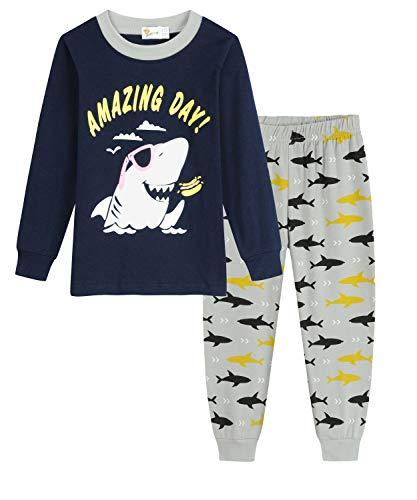EULLA Jungen Dinosaurier Schlafanzug Baumwolle Lange Nachtwäsche Kinder...