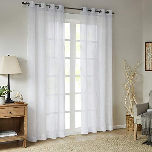 Gardinen Schals in Leinen-Optik Leinenstruktur Vorhänge mit Ösen Halbtransparent Vorhang für kleine Fenster Westwood Bright White, kurz (2er-Set, je 175x140cm)