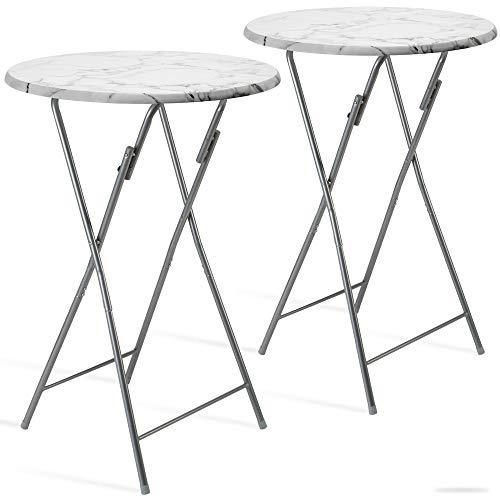 Casaria 2er Set Stehtisch Klappbar 60 x 110 cm Klapptisch Gartentisch Partytisch Bistrotisch Tisch MDF Weiß Marmor Optik