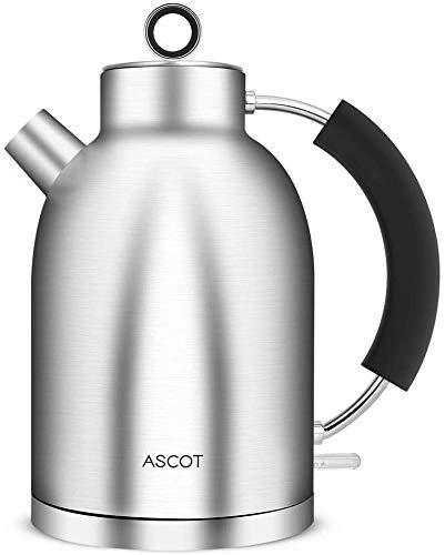 Wasserkocher Edelstahl, ASCOT 1.6 Liter Elektrischer Wasserkocher, BPA frei, Schnurlos mit 2200 Watt, Automatisch Abschaltung, Retro Design Kleiner Reisewasserkocher, Kompakter Teekocher-Silber