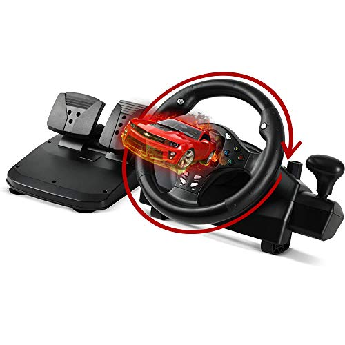 XTREME Racing Gaming Steering Wheel for PS4 Xbox One Xbox 360 PC Computer Nintendo Switch PS3 Android - Racing Gaming Steering Wheel with Vibration , Gear Stick Lever and 2 Pedals , Black