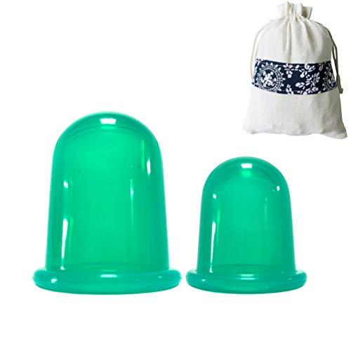 Kuncg Petites Tasses en Silicone 2 Pcs Aspiration Emboutissage Tasses,Ventouses Coupes, Anti-Cellulite, Amincissante, Minceur
