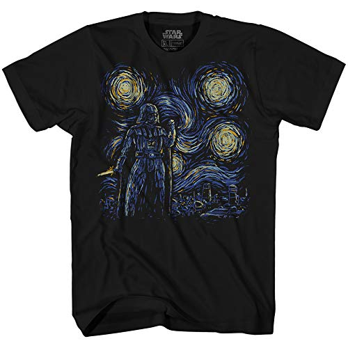 Starry Night Darth Vader Van Gogh Kids Youth Graphic Tee Apparel T-Shirt (Black, Large (18))