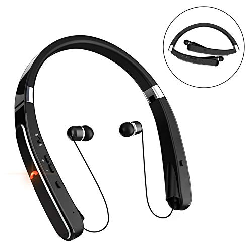 Bluetooth Headphones, 30Hr Playtime V4.1 Bluetooth Headset with Noise Cancelling Earbuds Retractable & Foldable & Neckband Sweatproof Bluetooth Headphones,Easy Carry Running and for Fun (Black)