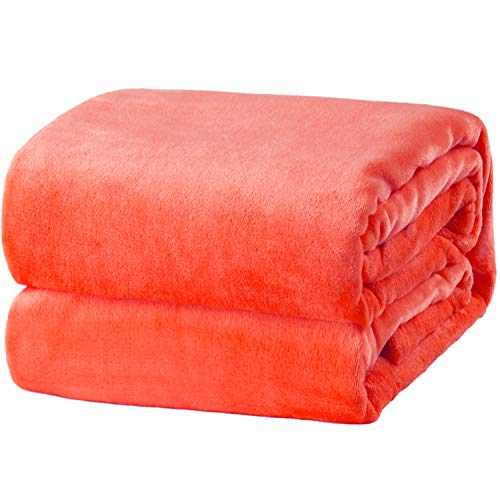 Bedsure Kuscheldecke Orange kleine Decke Sofa, weiche& warme Fleecedecke als Sofadecke/Couchdecke, kuschel Wohndecken Kuscheldecken, 130x150 cm extra flaushig und plüsch Sofaüberwurf Decke