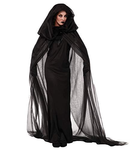 XGBDTJ Damen Geisterbraut Lange Cosplay Kleid Lange Umhang Kapuze Vampir Mit Halloween Stylish Unique Und Abendkleid Gothic Steampunk Faschingskostüme Schwarz (Color : Schwarz, Einheitsgröße : XL)