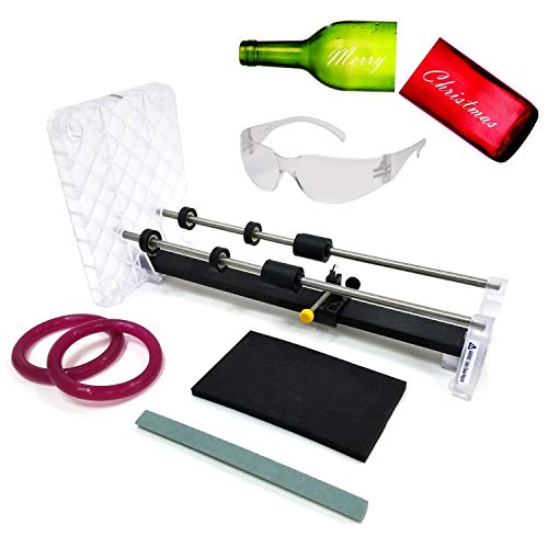 Creator's Glass Bottle Cutter DIY Machine Kit - HAPPY NEW YEAR EVERYONE - Made In The USA - Highest Quality Parts - Includes Carbide Cutter, Ruler, Ball Bearing Rollers, Safety Glasses - Craft Beer/Liquor/Wine Bottles