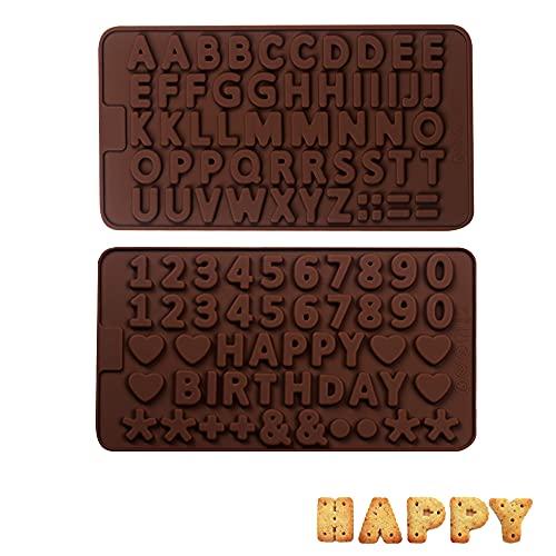 2 Piezas Molde de Silicona con Letra Lnglesa,Molde Numeros Chocolate,Molde de Chocolate Silicona,para Fondant Reposteria...