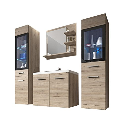 Badmöbel Set Udine I mit Waschbecken und Siphon, Modernes Badezimmer, Komplett, Spiegel, Waschtisch, Hochschrank, Möbel (ohne Beleuchtung, San Remo)
