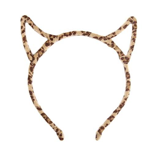 Oreilles Cat Femmes Bandeau bande de cheveux Serre-têtes, Leopard / Jaune