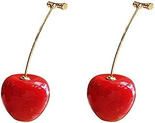 1 Par Linda Redondo Rojo Cereza Resina Coreana Pendientes de Gota Colgar de Fruta Romántico Regalos de San Valentín Para Chica Mujer