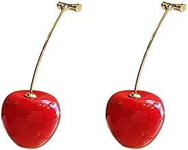SODIAL 1 Par Linda Redondo Rojo Cereza Resina Coreana Pendientes de Gota Colgar de Fruta Romántico Regalos de San Valentín Para Chica Mujer