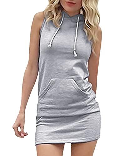 Eledobby Womens Summer Hoodies Dress Sleeveless T Shirt Long Casual Drawstring Tops Ladies Fashion Hooded Dresses Stylish Lounge Wear Clothes Light Gray L