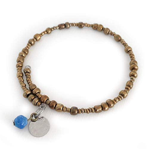 Recycled Paper Bead Boundless Bangle - Blue - Fair Trade BeadforLife Jewelry from Africa