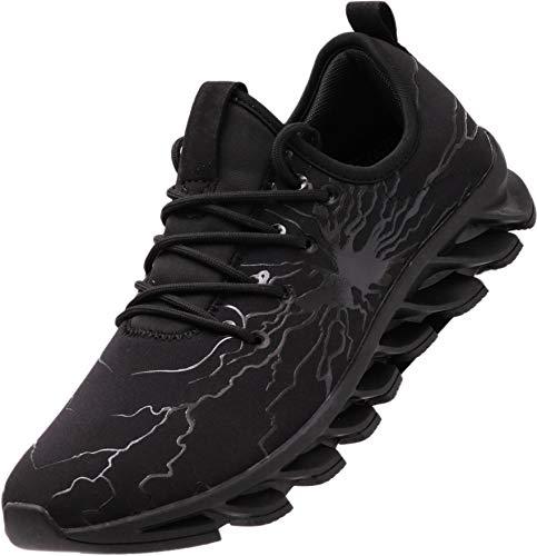 BRONAX Herren Sportschuhe Schnürschuhe Atmungsaktiv Moderne Freizeit Sneaker Schuhe Outdoor Laufschuhe Low-Top Bequeme Turnschuhe Gymnastikschuhe Männer Jungen Schwarz 38 EU (39 Asien)