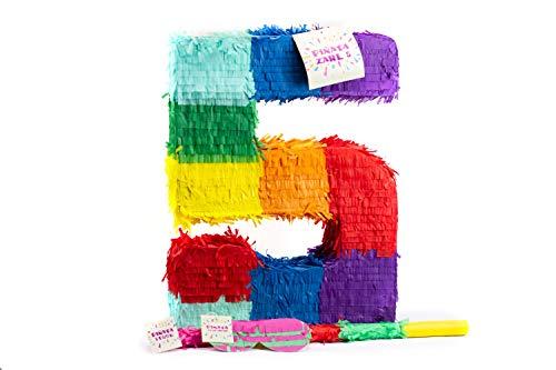Trendario Zahl 5 Pinata Set, Pinjatta + Stab + Augenmaske, Ideal zum Befüllen mit Süßigkeiten und Geschenken - Piñata für Kindergeburtstag Spiel, Geschenkidee, Party, Hochzeit