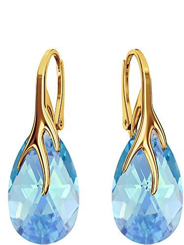 Crystals & Stones bap39 *ALMOND* *Aquamarine AB* - Bello Orecchini Argento 925 orecchini pendenti da donna con cristalli di Swarovski Elements - Meraviglioso orecchini con scatola regalo