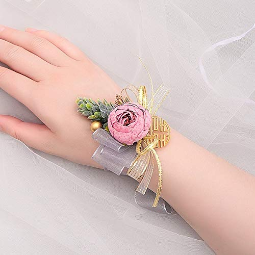 Pulsera de boda, accesorios de boda, para niñas, dama de honor, flores, para fiesta de graduación, ramillete de tela, hecho a mano, accesorios de novia, flores de muñeca (color: rosa rojo)
