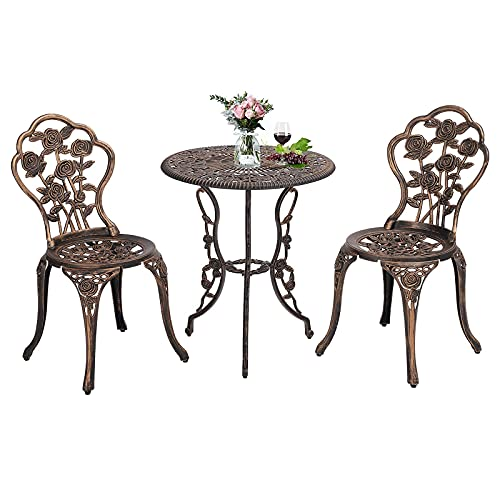 MAGIC UNION 3-Piece Cast Aluminum Patio Table and Chairs Outdoor Furniture Sets Clearance Rose Bistro Set Small Wrought Iron Chairs and Table with Umbrella Hole for Yard, Garden, Cafe