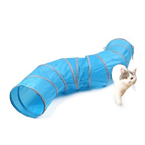 PAWZ Road S Shape Larger Cat Tunnel Juguete Plegable para Gato con 2 Maneras y 2 Cuevas para pequeños medianos y Grandes Gatos, Gatitos, Conejos Azul/Marrón/Gris