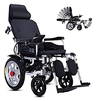 Luxury Wheel Chair,Lightweight Foldable Exclusive Electric Wheelchair Portable Brushless Powerful Motors Adjustable Backrest And Joystick with Headrest Scooter,20A