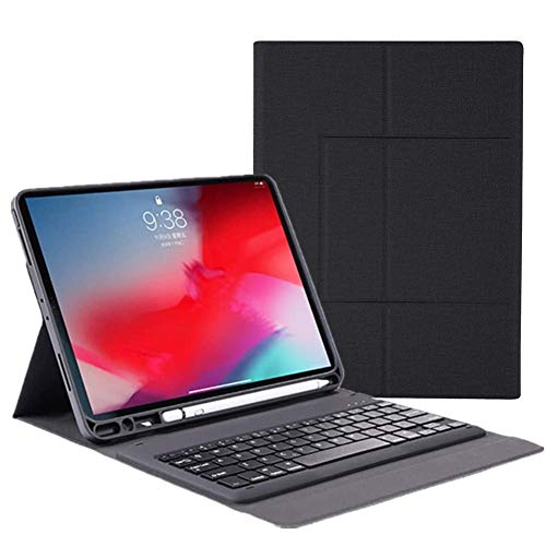 Ipad Keyboard Case for Ipad Air 3Rd Gen 10.5' 2019/ Ipad Pro 10.5' 2017 Premium Ultra-Slim Stand Canvas Fabric Cover Case with Wireless Bluetooth Keyboard And Pen Holde,Black