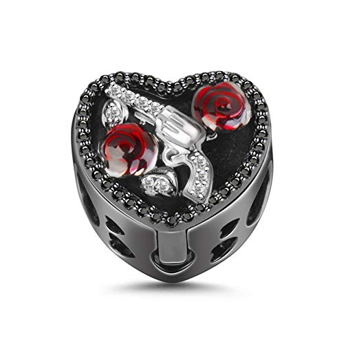 """GNOCE """"Guns and Roses Bead Charm Black Sterling Silver Essential Oil Diffuser Charm fit for Bracelet/Necklace Jewelry Gift for Wife Girlfriend Christmas New Year"""