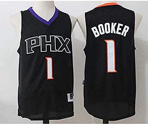 XUECHEN Ropa Jersey de Baloncesto para Adultos - NBA Phoenix Suns # 1 Devin Booker Jersey, Tops de Camiseta sin Mangas para Hombre, Tela Transpirable de Malla, Negro, S (165~170 cm)