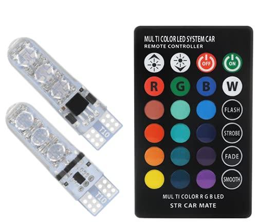 Shoplifemore T10 - Luz de decoración para coche W5W 194 5050 RGB 6 SMD LED para luz lateral con control remoto inalámbrico (4 luces y 1 mando a distancia)