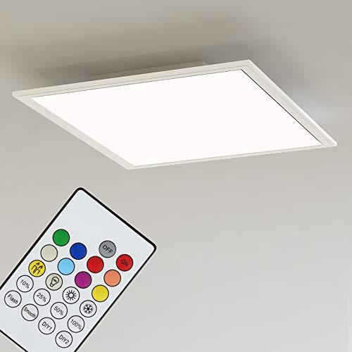 Briloner Leuchten LED Deckenleuchte-Panel, Einbauleuchte, 18W, dimmbar, Farbtemperatursteuerung, App-Steuerung, Bluetooth, quadratisch, weiß, 29.5 cm
