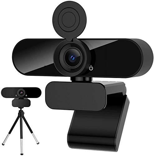 Webcam mit Mikrofon, HD 1080P Web Kamera mit 360° Blickfeld und Stativ, Belichtungskorrektur und Drehbarem Clip,USB 2.0 Plug & Play für Live-Streaming,Videoanruf,Konferenz mit PC/Mac/Linux