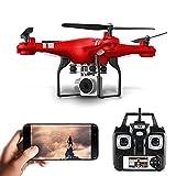 XIAOKEKE RC Drone con Cámara HD 1080P, Sensor De Gravedad Vuelo En Pista,Regreso con Solo Botón, 3D Flip, 2 Baterías, Regalos De Cumpleaños para Niños Y Niñas,Rojo