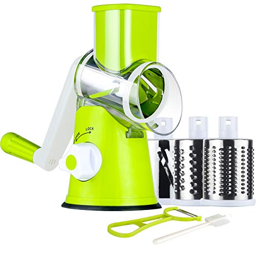 Ourokhome Manual Cheese Rotary Grater - Round Mandoline Slicer Shredder with 3 Inner Adjustable Blades (Green)