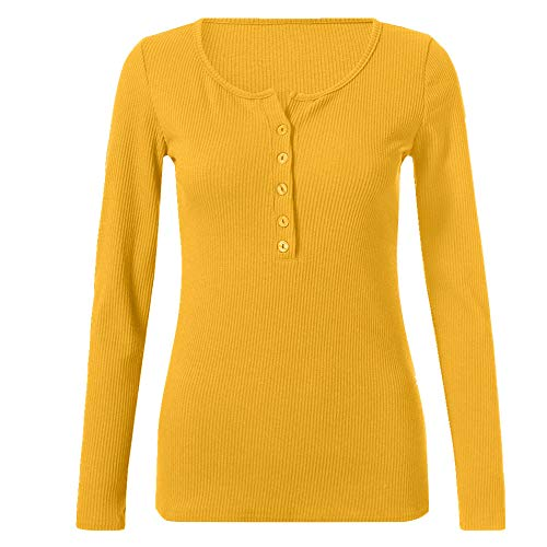 Women's Clothing Spring and Summer Long-Sleeved T-Shirt Yellow