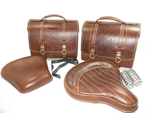 AEspares Fits Royal Enfield 350 Antique Brown Leather Saddle Bag & Front Rear Seat
