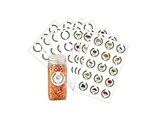 105 Pcs Etiquetas de Tarros de Especias Etiqueta de especias Juego de 45 etiquetas de especias con patrones y letras de especias para tarros de especias y 60 etiquetas en blanco 4 cm español