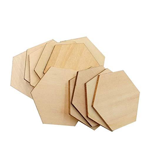 Healifty Holzscheiben Sechseck für DIY Handwerk Deko Geschenkanhänger 50 Stücke 50mm