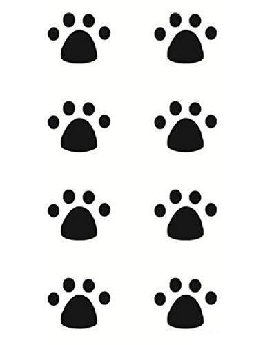 Strass ET Paillettes - Mini Tatouages éphémères Patte Chat Chien Noir Waterproof - Tatoo temporaire - Bijou de Peau Patte Animal