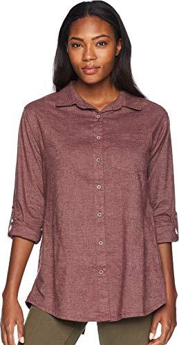 prAna Women's Aster Tunic Button Down Shirt, Medium, Wedge Wood