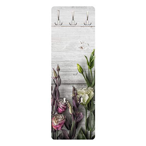 Bilderwelten Wandgarderobe + Haken Wandmontage Tulpen Rose Shabby Holzoptik 139 x 46 cm