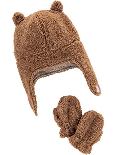 Simple Joys by Carter's Baby Hat and Mitten Set, Khaki, 12-24 Months
